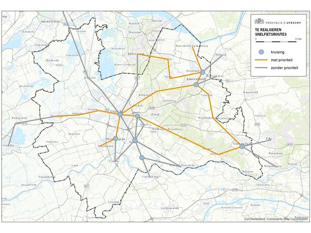 Map with bicycle highways region Utrecht 1